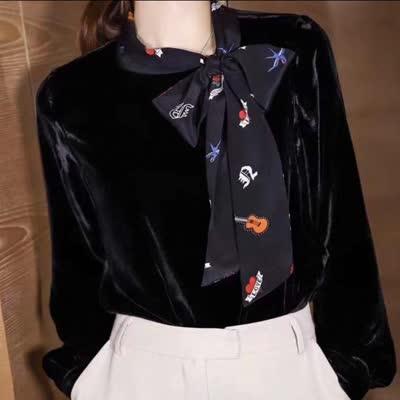 艾丽丝早春真丝丝绒拼接真丝领带衬衣