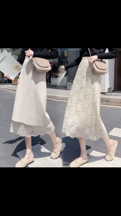 两面穿秋冬拼接蕾丝针织中长款半身裙