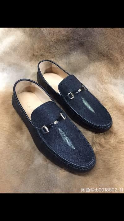 珍珠鱼皮鞋子男士真皮休闲鞋豆豆鞋平底鞋低帮鞋材质:珍珠鱼皮鞋面加鸵鸟皮边、