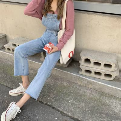 【kk➕studios】 2020新款 连体裤 纯色九分裤阔腿裤直筒型系带/腰带/抽绳甜美装牛仔布高腰常
