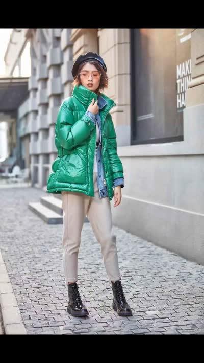 2019冬装新款【W+789】(9108106)九天国际牛仔撞色假两件90绒羽绒服