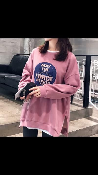 货号67711#,#加厚加绒卫衣女2019秋装新款韩版宽松大码上衣潮