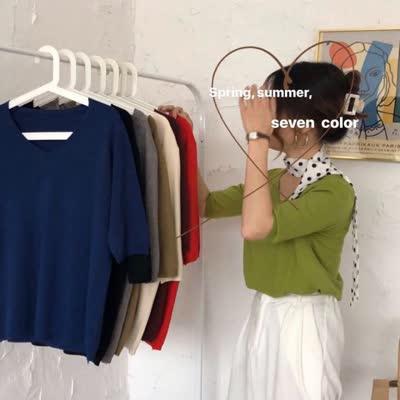 2020实拍实价韩版百搭针织半袖五分袖春装新款宽松T恤女