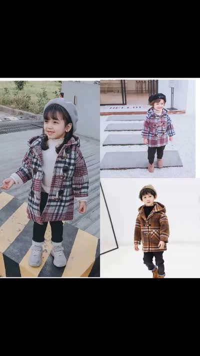 【清仓】男女童毛呢子外套秋冬装加棉儿童格子大衣中长款洋气
