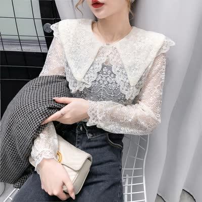 [韩艳]韩版女装新款气质2020袖蕾丝衫春夏内搭修身长袖打底衫上衣潮