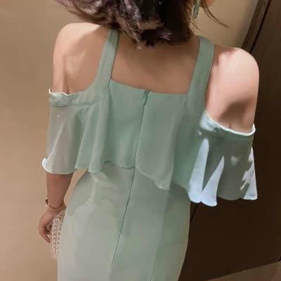 2020夏新款时尚韩版洋气挂脖式露肩荷叶边雪纺修身连衣裙1972