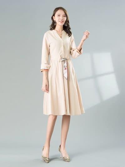2020春装新款女装【朝花夕拾】淑女气质V领七分袖高腰系带纯棉大摆裙连衣裙