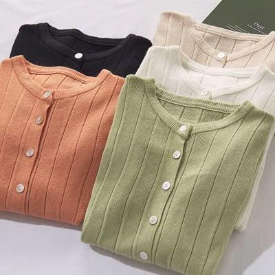 2020实拍长袖单排扣开衫针织衫女简约纯色修身显瘦针织打底衫