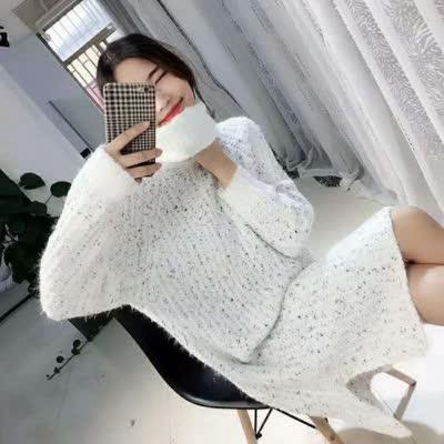866–803新毛纱不变形高领毛衣连衣裙