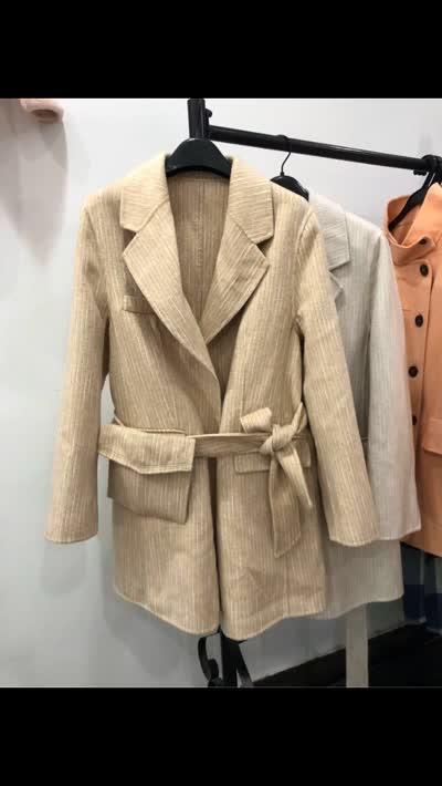 包邮 米色 浅卡 100%羊毛双面呢大衣条纹西装呢子外套