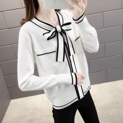 新款冰麻蝴蝶结系带针织开衫