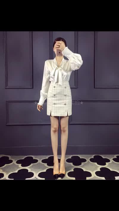 【欧美外贸】专柜最新款,专柜同步洗水唛,进口绸缎蝴蝶结上衣+粗花呢包臀裙套装 白