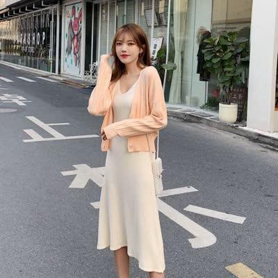 2020春装新款纯色针织开衫+坑条吊带裙两件套装