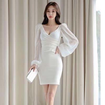 货号82023#,2020年春秋新款韩版时尚气质显瘦v领包臀连衣裙名媛礼服裙