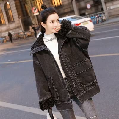 实拍2019冬装新款加绒加厚黑色牛仔外套女中长款羊卷毛工装棉衣潮