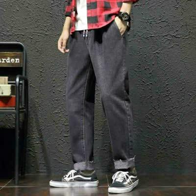 外贸男装2020春秋季大码原创男士青少年毛边直筒纯色牛仔裤长裤潮