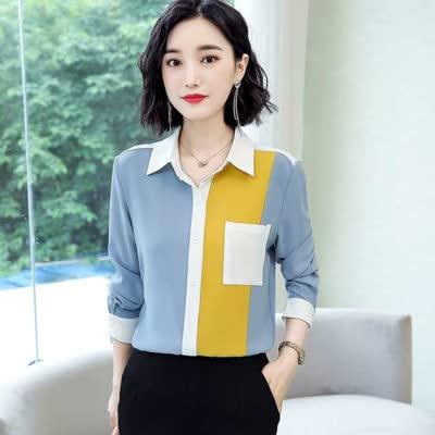 布桂坊2020春季新款职业衬衫宽松雪纺大码衬衣拼接洋气上衣
