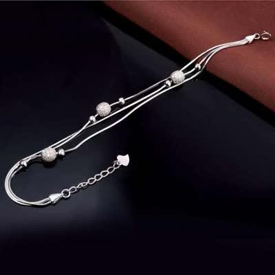 圆圈珠S925银手链 韩版气质多层蛇骨链