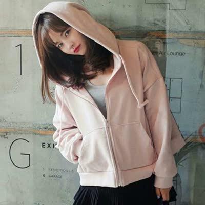 粉色开衫拉链纯加绒加厚外套女连帽卫衣