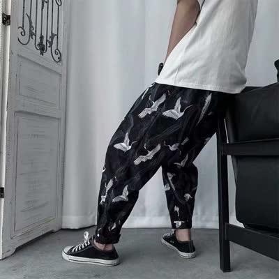 2020新款街头风国潮原创拼接撞色束脚裤嘻哈街头潮牌宽松工装运动长裤子男