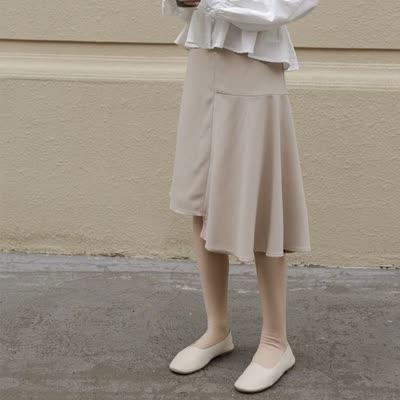 拼接不规则裙中长款复古简约高腰显瘦半身裙