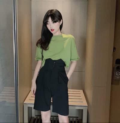 牛油果绿超火短款T恤+显腿长高腰裤