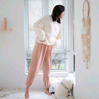 出口原单韩版时尚简约纯色休闲裤保暖舒适百搭加厚家居裤