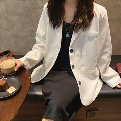 货号901#,外贸女装2020新款宽松显瘦韩范帅气西装外套,颜色:黑色、白色,尺码:均码