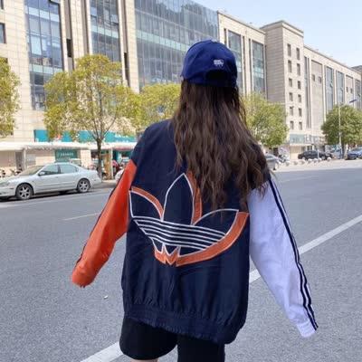 三叶草拼色防风衣外套  这个外套是贼好看啦! 撞橘色显眼好看 超级百搭