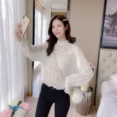 实拍早春新款气质淑女风蕾丝拼接褶皱雪纺衬衫女喇叭袖衬衣
