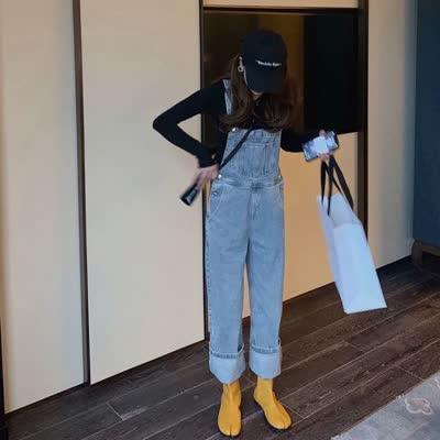 背带裤女韩版宽松春装2020新款泫雅风浅色拖地牛仔阔腿裤