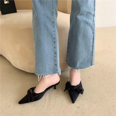新款春季韩版蝴蝶结尖头拖鞋细跟 096-3