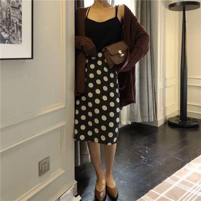 货号6265#,实价巨显瘦高腰波点半身裙韩版修身显高直筒包臀裙,颜色:黑,尺码:S、M