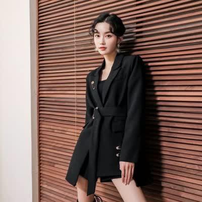 黑色西装外套女2019秋款时尚法式设计感显瘦一粒扣气质小西服