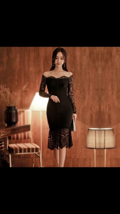 货号8912#,2020春装新款韩版通勤打底黑色修身显瘦性感一字肩蕾丝连衣裙