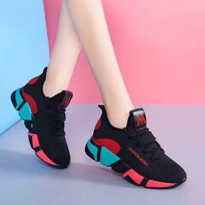 【鞋子批发出售】 2020新款 运动鞋 低帮系带跑步鞋女透气中底棉布 包邮