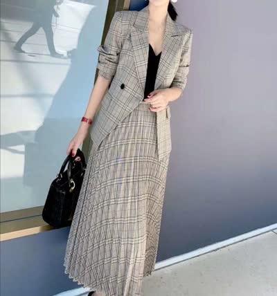 艾丽丝2020春季新款格子小西装外套百褶半身裙套装