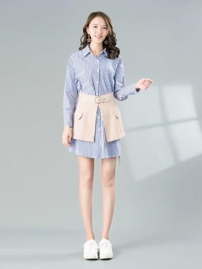 2020春装新款女装【朝花夕拾】时尚气质翻领长袖显瘦条纹洗水棉套装连衣裙