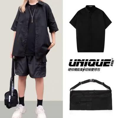 夏季新款潮牌挎包工装宽松短袖衬衫男女休闲五分袖潮流帅气外套