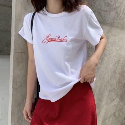 2020年夏季新款基础白色字母印花ins风短袖T恤上衣