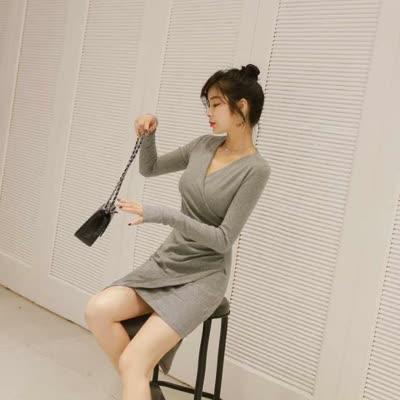 2020秋装新款女装性感V字领褶皱遮肚包臀不规则长袖连衣裙1481