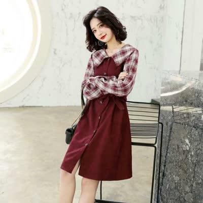【名朗潮流衣橱】2020春季新款女装韩版时尚甜美裙子 格纹拼接翻领长袖单排扣中裙