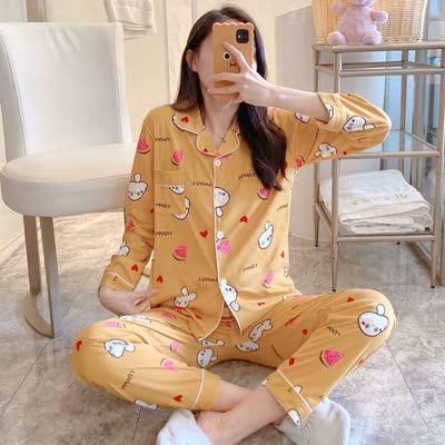 货号:40024#,睡衣女长袖睡衣套装春秋季可外穿韩版休闲开衫女士家居服套装