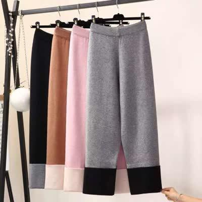 针织奶奶裤直筒裤子毛线加厚长裤