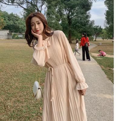 2020春款韩版很仙的百褶裙女高腰蝴蝶结系带连衣裙