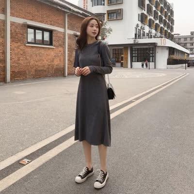 2020春款新款韩版连衣裙女高腰显瘦中长款修身打底裙