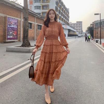 2020春款新款韩版长袖碎花裙中长款打底裙雪纺连衣裙