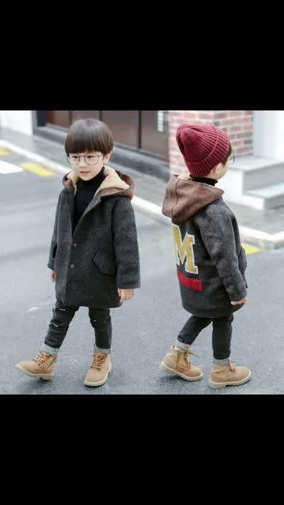 JI18263  实拍!童装男孩连帽加厚报名呢大衣外套   ¥85  90~140cm