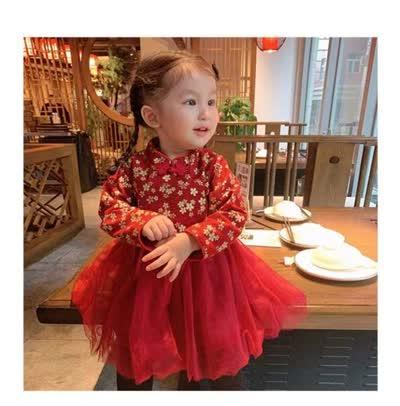 冬季宝宝加绒裙子儿童拜年服小女孩婴儿周岁礼服女(80~130cm)(0048)