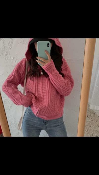 货号J-0024#,实拍!外贸原单韩版纯色麻花针织连帽开衫女拉链毛衣短外套,¥85,尺码:均